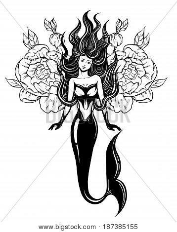 Vector illustration of beautiful mermaid with long hair and flowers made in realistic hand drawn sketch line style. Template for postcard poster banner sticker badge and print for t-shirt