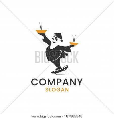 Panda mascot logo for any Asian food delivery service company.