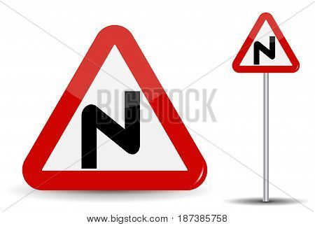 Road sign Warning Dangerous turns. In Red Triangle, a curved line is depicted schematically, denoting many turns. Vector Illustration. EPS10
