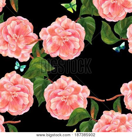 A seamless pattern with a vintage style watercolor drawing of a tender pink camellia flower in bloom, on a branch with green leaves, with teal and green butterflies, on a black background