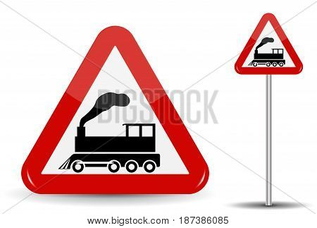 Road sign Warning Railway crossing without barrier. In Red Triangle is a schematic depiction of a steam locomotive in motion with smoke. Vector Illustration. EPS10
