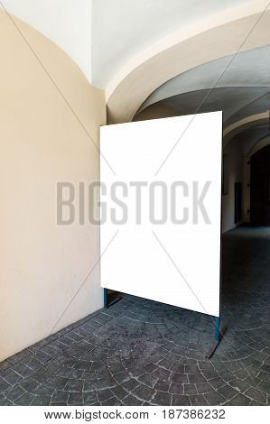 Signboard stand mock up. Big white banner template in the street