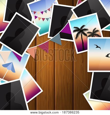 Travel photo collage on wooden background. Bunting flags.