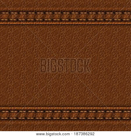 Realistic leather texture with two seams. Brown leather background with stitching. Vector illustration
