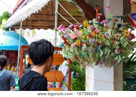 Pathum Thani, Thailand, -may,10,2017 : Thai Buddhist People Merit They Money With Insert Money To St