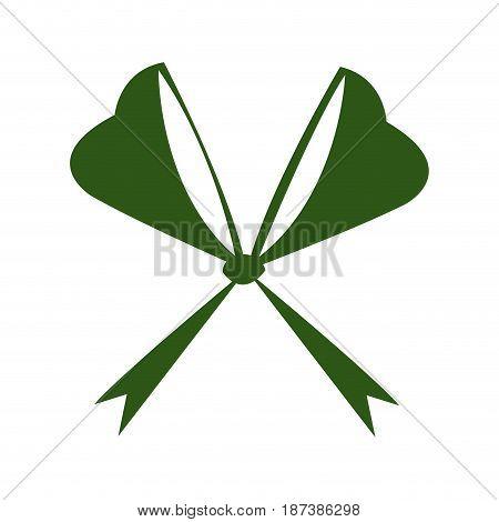 green bow ribbon decoration xmas celebration vector illustration