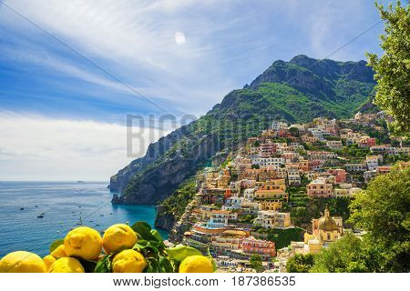 View of the town of Positano with lemons Amalfi Coast Italy