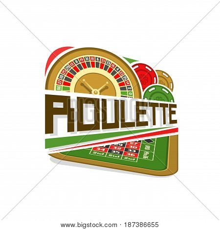 Vector logo for Roulette gamble: wheel of american roulette with double zero, colorful chips, inscription title text - roulette, icon with playing table for gambling game, art symbol for casino club.