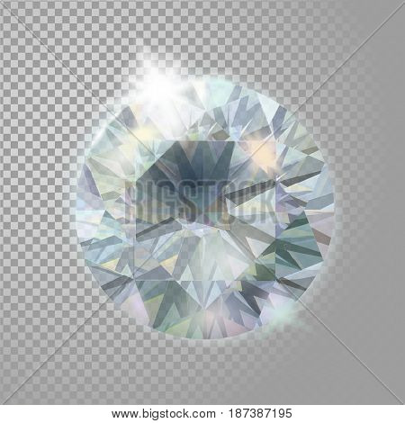 Crystal Diamond Brilliant Gem Jewelry Precious Stone. Realistic 3D Detailed Vector Illustration On T