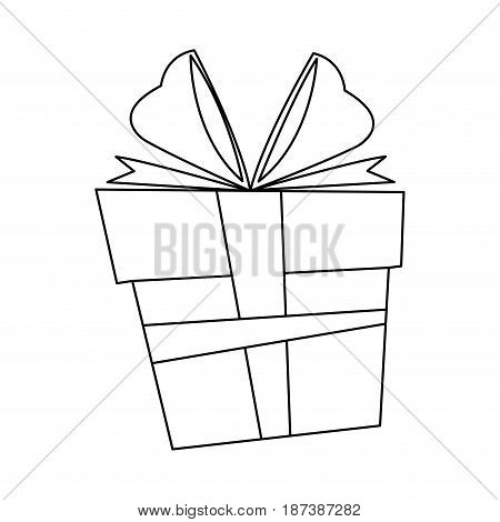 christmas box gift ornament decoration outline vector illustration