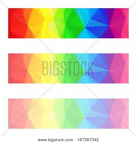 vector abstract irregular polygon banners with a triangle pattern with different opacity - full spectrum color rainbow strip