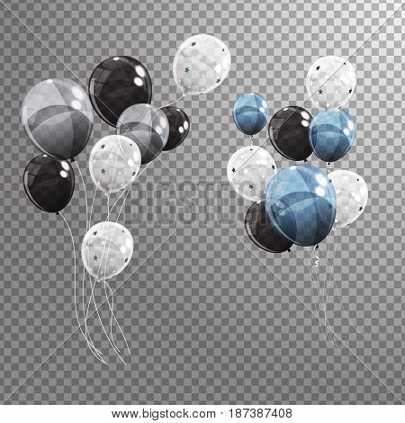 Group of Colour Glossy Helium Balloons Isolated on Transperent  Background. Set of Silver, Black, Blue, White with Confetti Balloons for Birthday, Anniversary, Celebration  Party Decorations. Vector Illustration EPS10