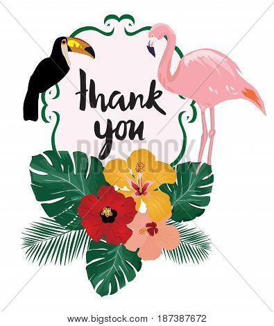 vector illustration of thank you card note with birds flamingo toucan tropical flowers