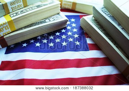 Money Stacks With American Flag High Quality