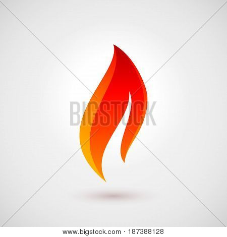 Symbol of Fire Icon in Trendy Flat Style. Logo Design Template