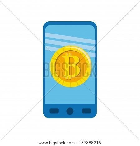 smartphone with bitcoin currency symbol inside, vector illustration