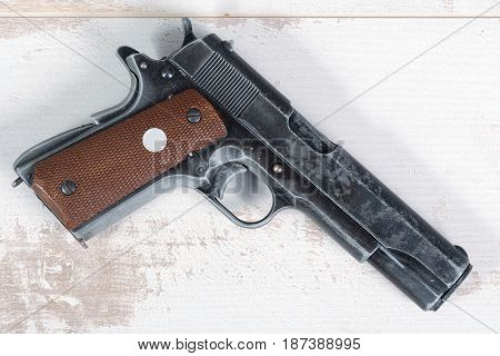 close up of military colt government m1911