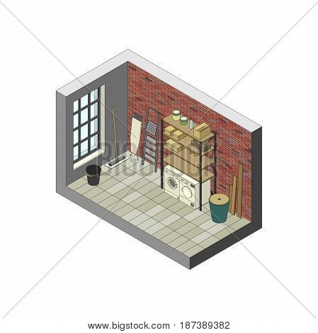Storeroom in isometric view. Vector illustration of utility room.