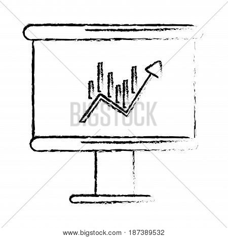 figure board with statistic arrow up to financial business, vector illustration