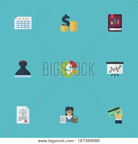 Flat Stock, Bookkeeper, Coins Pile And Other Vector Elements. Set Of Recording Flat Symbols Also Includes Credit, Whiteboard, Booker Objects.