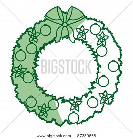 wreath crown christmas decoration celebration party vector illustration