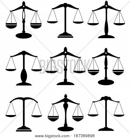 vector illustration of scales of justice set isolated on white background