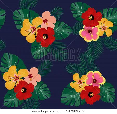 vector illustration of seamless tropical background with hibiscus flowers palm leaves