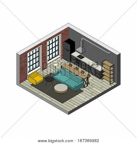 Living room interior in isometric view. Illustration of loft apartment with brick wall.