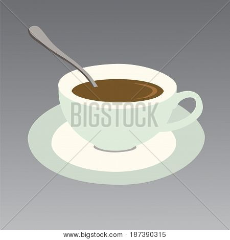 Vector illustration of a chocolate cup with saucer and spoon isolated on a gray background