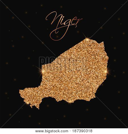 Niger Map Filled With Golden Glitter. Luxurious Design Element, Vector Illustration.