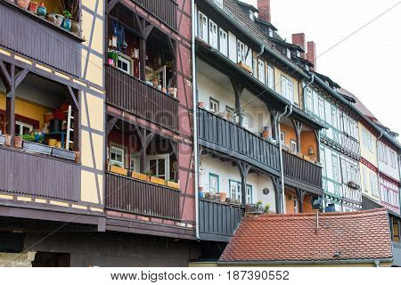 Some Half-timbered houses at Chandler bridge in Erfurt