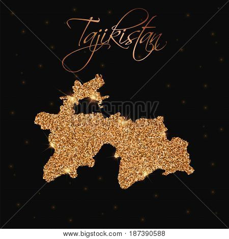Tajikistan Map Filled With Golden Glitter. Luxurious Design Element, Vector Illustration.