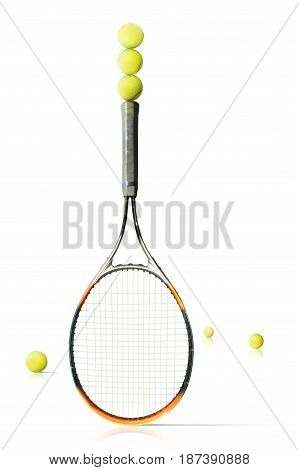 Tennis balls and racket the white background