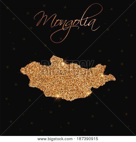 Mongolia Map Filled With Golden Glitter. Luxurious Design Element, Vector Illustration.