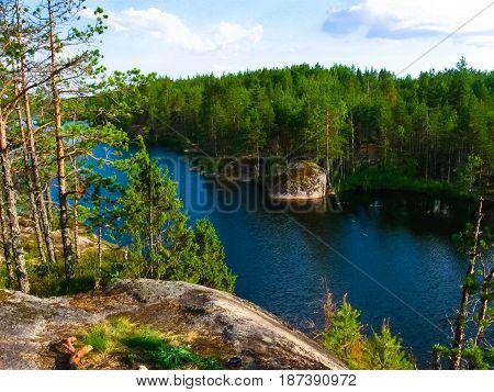 Forest Lake Travkino, Karelian Isthmus, Kuznechnoe, Leningrad Region.