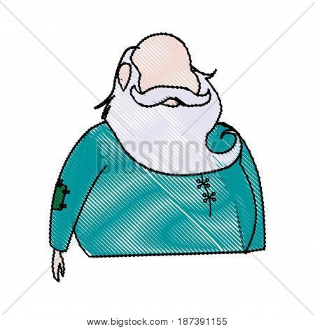 portrait santa claus christmas wearing clothes traditional vector illustration