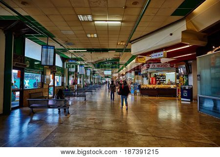 Tel Aviv - 20.04.2017: Central Bus Station Waiting Area, Tel Aviv