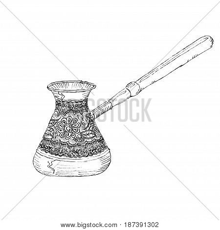 The black ink drawing of turk coffee maker isolated on white background. Vector illustration. Hand-drawn sketch style.