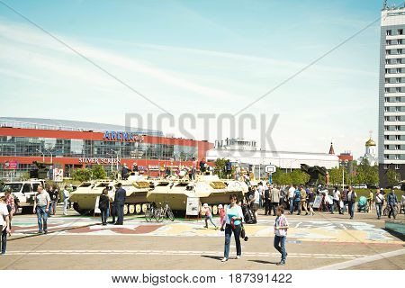 Belarus Minsk 21 May 2017. Military exhibition military armament in Minsk. Technological innovations for warfare. People walk and look at weapons.