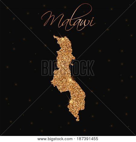 Malawi Map Filled With Golden Glitter. Luxurious Design Element, Vector Illustration.