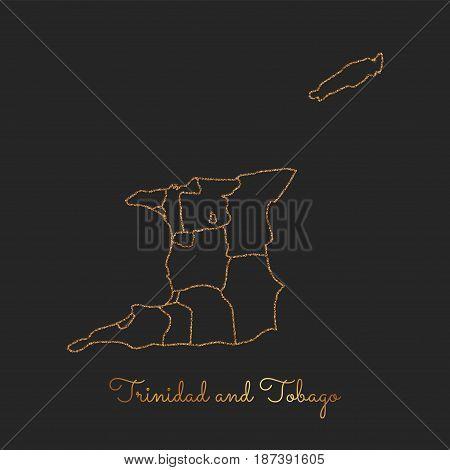 Trinidad And Tobago Region Map: Golden Glitter Outline With Sparkling Stars On Dark Background. Deta