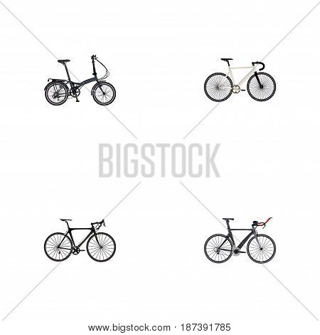 Realistic Exercise Riding, Folding Sport-Cycle, Road Velocity And Other Vector Elements. Set Of Bicycle Realistic Symbols Also Includes Bike, Folding, Bicycle Objects.
