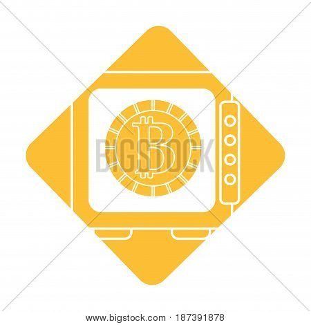 label strongbox open with bitcoin currency inside, vector illustration