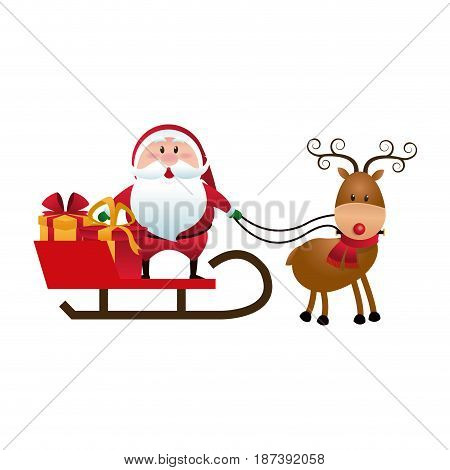 christmas santa claus reindeer sledge gifts cartoon vector illustration
