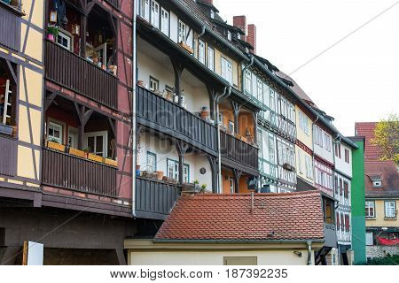 The Half-timbered houses at Chandler bridge in Erfurt