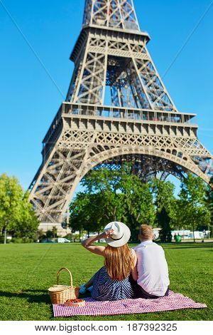 Romantic Couple Having Picnic Together In Paris