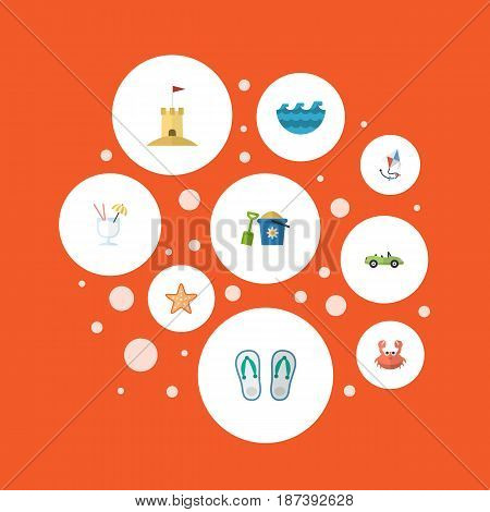 Flat Slippers, Shovel, Sea Star And Other Vector Elements. Set Of Summer Flat Symbols Also Includes Coupe, Flip, Cocktail Objects.