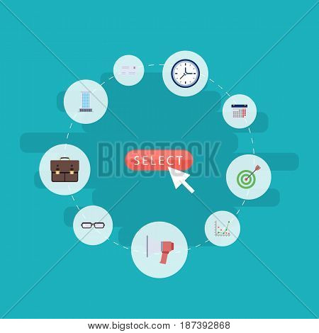Flat Goal, Envelope, Portfolio And Other Vector Elements. Set Of Career Flat Symbols Also Includes Business, Advertisement, Statistics Objects.