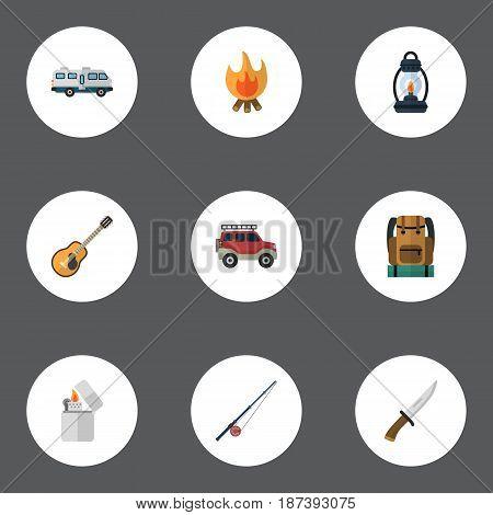 Flat Caravan, Kerosene, Music And Other Vector Elements. Set Of Encampment Flat Symbols Also Includes Lamp, Lighter, Bag Objects.