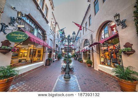 Santa Barbara CA USA - October 26 2016: Shopping center in old town SB